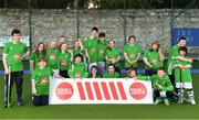 13 June 2018; The Irish ParaHockey ID team today announced Off The Ball as their shirt sponsor ahead of the European ParaHockey Tournament in Barcelona. Pictured is the The Irish ParaHockey ID team at the Three Rock Rovers HC, Grange Road in Rathfarnham, Dublin. Photo by Harry Murphy/Sportsfile