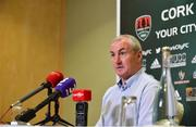 12 June 2018; Cork City manager John Caulfield speaking during a Cork City press conference at Cork Airport Hotel in Cork. Photo by Sam Barnes/Sportsfile
