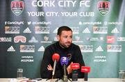 12 June 2018; Damien Delaney speaking during a Cork City press conference at Cork Airport Hotel in Cork. Photo by Sam Barnes/Sportsfile