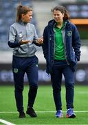 12 June 2018; Katie McCabe, left, and Niamh Fahey of Republic of Ireland priot to the FIFA 2019 Women's World Cup Qualifier match between Norway and Republic of Ireland at the SR-Bank Arena in Stavanger, Norway. Photo by Seb Daly/Sportsfile