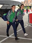 12 June 2018; Katie McCabe, left, and Karen Duggan of Republic of Ireland arrive prior to the FIFA 2019 Women's World Cup Qualifier match between Norway and Republic of Ireland at the SR-Bank Arena in Stavanger, Norway. Photo by Seb Daly/Sportsfile