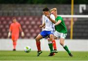 12 June 2018; Sami Ayachi of France in action against Liam Scales of Ireland during the College & Universities Football League match between Ireland and France at the City Calling Stadium in Longford. Photo by Eóin Noonan/Sportsfile