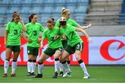 12 June 2018; Karen Duggan, left, and Louise Quinn of Republic of Ireland warm up prior to the FIFA 2019 Women's World Cup qualifier match between Norway and Republic of Ireland at the Viking Stadion in Stavanger, Norway. Photo by Seb Daly/Sportsfile