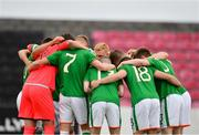 12 June 2018; Ireland players huddle prior to the College & Universities Football League match between Ireland and France at the City Calling Stadium in Longford. Photo by Eóin Noonan/Sportsfile