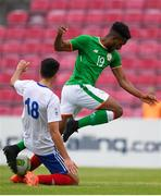 12 June 2018; Carlton Ubaezuonu of Ireland in action against Alex Marchadier of France during the College & Universities Football League match between Ireland and France at the City Calling Stadium in Longford. Photo by Eóin Noonan/Sportsfile