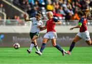 12 June 2018; Leanne Kiernan of Republic of Ireland in action against Maria Thorisdottir of Norway during the FIFA 2019 Women's World Cup Qualifier match between Norway and Republic of Ireland at the SR-Bank Arena in Stavanger, Norway. Photo by Seb Daly/Sportsfile