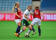 12 June 2018; Karen Duggan of Republic of Ireland in action against Lisa-Marie Utland, left, and Guro Reiten of Norway during the FIFA 2019 Women's World Cup Qualifier match between Norway and Republic of Ireland at the SR-Bank Arena in Stavanger, Norway. Photo by Seb Daly/Sportsfile