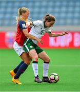 12 June 2018; Karen Duggan of Republic of Ireland in action against Lisa-Marie Utland of Norway during the FIFA 2019 Women's World Cup Qualifier match between Norway and Republic of Ireland at the SR-Bank Arena in Stavanger, Norway. Photo by Seb Daly/Sportsfile