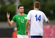 12 June 2018; Pierce Phillips of Ireland shakes hands with Clément Bassin of France during the College & Universities Football League match between Ireland and France at the City Calling Stadium in Longford. Photo by Eóin Noonan/Sportsfile
