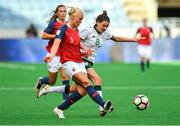 12 June 2018; Maria Thorisdottir of Norway in action against Leanne Kiernan of Republic of Ireland during the FIFA 2019 Women's World Cup Qualifier match between Norway and Republic of Ireland at the SR-Bank Arena in Stavanger, Norway. Photo by Seb Daly/Sportsfile