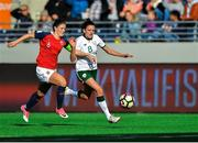 12 June 2018; Leanne Kiernan of Republic of Ireland in action against Maren Mjelde of Norway during the FIFA 2019 Women's World Cup Qualifier match between Norway and Republic of Ireland at the SR-Bank Arena in Stavanger, Norway. Photo by Seb Daly/Sportsfile