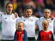 12 June 2018; Republic of Ireland players, from left, Karen Duggan, Leanne Kiernan and Denis O'Sullivan during the national anthem prior to the FIFA 2019 Women's World Cup Qualifier match between Norway and Republic of Ireland at the SR-Bank Arena in Stavanger, Norway. Photo by Seb Daly/Sportsfile