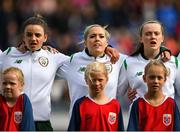 12 June 2018; Republic of Ireland players, from left, Leanne Kiernan, Denis O'Sullivan and Tyler Toland during the national anthem prior to the FIFA 2019 Women's World Cup Qualifier match between Norway and Republic of Ireland at the SR-Bank Arena in Stavanger, Norway. Photo by Seb Daly/Sportsfile