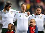 12 June 2018; Republic of Ireland players, from left, Louise Quinn, Karen Duggan and Leanne Kiernan during the national anthem prior to the FIFA 2019 Women's World Cup Qualifier match between Norway and Republic of Ireland at the SR-Bank Arena in Stavanger, Norway. Photo by Seb Daly/Sportsfile