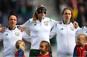 12 June 2018; Republic of Ireland players, from left, Sophie Perry-Campbell, Louise Quinn and Karen Duggan during the national anthem prior to the FIFA 2019 Women's World Cup Qualifier match between Norway and Republic of Ireland at the SR-Bank Arena in Stavanger, Norway. Photo by Seb Daly/Sportsfile