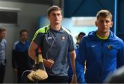 10 June 2018; Conor Cleary, left, of Clare arrives for the Munster GAA Hurling Senior Championship Round 4 match between Tipperary and Clare at Semple Stadium in Thurles, Tipperary. Photo by Ray McManus/Sportsfile