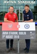 13 June 2018; Former Arsenal player Ray Parlour, left, and former Chelsea player Tore Andre Flo in attendance during an International Club Game Announcement which will see Arsenal play Chelsea on the 1st of August 2018 at Aviva Stadium, in Dublin. Photo by Sam Barnes/Sportsfile