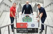 13 June 2018; Former Arsenal player Ray Parlour, left, and former Chelsea player Tore André Flo, right, with Charlie Stillitano, Executive Chairman, Relevant sports, in attendance during an International Club Game Announcement which will see Arsenal play Chelsea on the 1st of August 2018 at Aviva Stadium, in Dublin.  Photo by Sam Barnes/Sportsfile