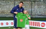 13 June 2018; The Irish ParaHockey ID team today announced Off The Ball as their shirt sponsor ahead of the European ParaHockey Tournament in Barcelona. ParaHockey ID and Irish Under 16 Coach Niall Denham presents Martha O'Flynn of Three Rock Rovers, Co. Dublin, with her jersey at the Three Rock Rovers HC, Grange Road in Rathfarnham, Dublin. Photo by Harry Murphy/Sportsfile