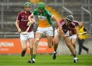 13 June 2018; Brian Duignan of Offaly in action against Ian O'Shea, left, and Caelom Mulry of Galway during the Bord Gáis Energy Leinster Under 21 Hurling Championship 2018 Quarter Final match between Offaly and Galway at Bord Na Móna O'Connor Park, in Tullamore, Offaly. Photo by Piaras Ó Mídheach/Sportsfile