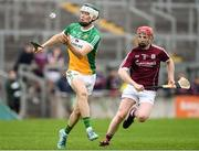 13 June 2018; Wayne Mooney of Offaly in action against Thomas Monaghan of Galway during the Bord Gáis Energy Leinster Under 21 Hurling Championship 2018 Quarter Final match between Offaly and Galway at Bord Na Móna O'Connor Park, in Tullamore, Offaly. Photo by Piaras Ó Mídheach/Sportsfile