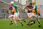 13 June 2018; Oisín Kelly of Offaly, supported by team-mate Liam Langton, in action against Fintan Burke and Thomas Monaghan, left, of Galway during the Bord Gáis Energy Leinster Under 21 Hurling Championship 2018 Quarter Final match between Offaly and Galway at Bord Na Móna O'Connor Park, in Tullamore, Offaly. Photo by Piaras Ó Mídheach/Sportsfile