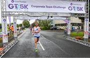 13 June 2018; Gareth McGlinchey, first male finisher, crosses the line of the Grant Thornton Corporate 5K Team Challenge in Cork City, Cork. Photo by Matt Browne/Sportsfile