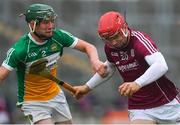 13 June 2018; Jack Canning of Galway in action against Michael Gilligan of Offaly during the Bord Gáis Energy Leinster Under 21 Hurling Championship 2018 Quarter Final match between Offaly and Galway at Bord Na Móna O'Connor Park, in Tullamore, Offaly. Photo by Piaras Ó Mídheach/Sportsfile