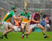 13 June 2018; Evan Niland of Galway in action against Michael Gilligan, left, and Joe Maher of Offaly during the Bord Gáis Energy Leinster Under 21 Hurling Championship 2018 Quarter Final match between Offaly and Galway at Bord Na Móna O'Connor Park, in Tullamore, Offaly. Photo by Piaras Ó Mídheach/Sportsfile