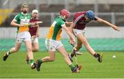 13 June 2018; Liam Forde of Galway in action against Cathal O'Brien of Offaly during the Bord Gáis Energy Leinster Under 21 Hurling Championship 2018 Quarter Final match between Offaly and Galway at Bord Na Móna O'Connor Park, in Tullamore, Offaly. Photo by Piaras Ó Mídheach/Sportsfile
