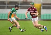 13 June 2018; Cianan Fahy of Galway in action against Joe Keenaghan of Offaly during the Bord Gáis Energy Leinster Under 21 Hurling Championship 2018 Quarter Final match between Offaly and Galway at Bord Na Móna O'Connor Park, in Tullamore, Offaly. Photo by Piaras Ó Mídheach/Sportsfile