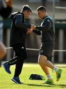 14 June 2018; Andrew Conway with team physio Keith Fox, left, during Ireland rugby squad training at St Kevin's College in Melbourne, Australia. Photo by Brendan Moran/Sportsfile