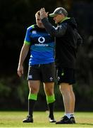 14 June 2018; Head coach Joe Schmidt with Niall Scannell during Ireland rugby squad training at St Kevin's College in Melbourne, Australia. Photo by Brendan Moran/Sportsfile