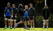 14 June 2018; Ireland players, from left, Quinn Roux, Peter O'Mahony, John Ryan, Jonathan Sexton, and Robbie Henshaw watch strength & conditioning coach Jason Cowman during squad training at St Kevin's College in Melbourne, Australia. Photo by Brendan Moran/Sportsfile