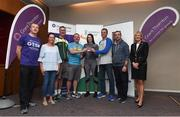 113 June 2018; Grant Thornton 5K race ambassador and Cork Camogie player Ashling Thompson, Michael Nolan from Grant Thornton, and Angela Shine from Cork Simon Community, present the second place mixed team trophy to the BNY team after the Grant Thornton Corporate 5K Team Challenge in Cork City, Cork. Photo by Matt Browne/Sportsfile