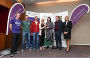 13 June 2018; Grant Thornton 5K race ambassador and Cork Camogie player Ashling Thompson, Michael Nolan from Grant Thornton, and Angela Shine from Cork Simon Community present the winning mixed team trophy to, from left, Billy Harty, Stephen Dwyer, Jill Hodgins and Ryhan O'Halloran from the Goodbody team after the Grant Thornton Corporate 5K Team Challenge in Cork City, Cork. Photo by Matt Browne/Sportsfile