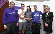 13 June 2018; Grant Thornton 5K race ambassador and Cork Camogie player Ashling Thompson, Gerard Walsh from Grant Thornton, and Angela Shine from Cork Simon Community present the winning team trophy to, from left, Donal Coakley and Pat O'Connor of Gilead Sciences after the Grant Thornton Corporate 5K Team Challenge in Cork City, Cork. Photo by Matt Browne/Sportsfile
