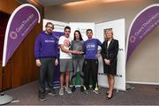 13 June 2018; Grant Thornton 5K race ambassador and Cork Camogie player Ashling Thompson, Gerard Walsh from Grant Thornton, and Angela Shine from Cork Simon Community, present the winning team trophy to, from left, Donal Coakley and Pat O'Connor of Gilead Sciences, after the Grant Thornton Corporate 5K Team Challenge in Cork City, Cork. Photo by Matt Browne/Sportsfile