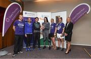 13 June 2018; Grant Thornton 5K race ambassador and Cork Camogie player Ashling Thompson, Michael Nolan from Grant Thornton, and Angela Shine from Cork Simon Community, present the winning trophy to the first ladies team to finish, from left, Lorraine Bolster, Sharon Woods, Liz Drea, and Niamh O'Sullivan from the Grant Thornton team after the Grant Thornton Corporate 5K Team Challenge in Cork City, Cork. Photo by Matt Browne/Sportsfile