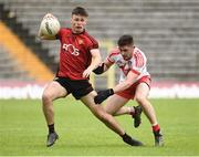 10 June 2018; Ronan Fegan of Down in action against Eoghan Concannon of Derry during the Eirgrid Ulster GAA Football U20 Championship match between Down and Derry at St Tiernach's Park in Clones, Monaghan.  Photo by Oliver McVeigh/Sportsfile