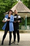 14 June 2018; Sean Hoare of  Dundalk is presented with his SSE Airtricity/SWAI Player of the Month award for May by Ruth Ryan, SSE Airtricity Marketing Specialist, at The Herbert Park Hotel, in Ballsbridge, Dublin. Photo by Piaras Ó Mídheach/Sportsfile