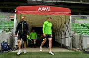 15 June 2018; Strength & conditioning coach Jason Cowman, left, and Garry Ringrose make their way out for the Ireland rugby squad captain's run in AMMI Park in Melbourne, Australia. Photo by Brendan Moran/Sportsfile