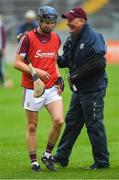 13 June 2018; Galway manager Tony Ward and Seán Loftus share a joke before the Bord Gáis Energy Leinster Under 21 Hurling Championship 2018 Quarter Final match between Offaly and Galway at Bord Na Móna O'Connor Park, in Tullamore, Offaly. Photo by Piaras Ó Mídheach/Sportsfile