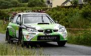 15 June 2018; Manus Kelly and Donall Barrett in a Subaru Impreza WRC S12 during stage 1 Breenagh  during the Joule Donegal International Rally Day 1 in Letterkenny, Donegal. Photo by Philip Fitzpatrick/Sportsfile