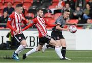 15 June 2018; Michael Duffy of Dundalk in action against Jamie McDonagh of Derry City during the SSE Airtricity League Premier Division match between Derry City and Dundalk at the Brandywell Stadium in Derry. Photo by Oliver McVeigh/Sportsfile