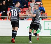15 June 2018; Robbie Benson of Dundalk, left, celebrates with Michael Duffy of Dundalk after scoring his side's first goal during the SSE Airtricity League Premier Division match between Derry City and Dundalk at the Brandywell Stadium, Derry. Photo by Oliver McVeigh/Sportsfile