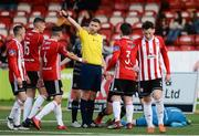 15 June 2018; Referee Paul McLaughlin awards a free as Gerard Doherty of Derry City lies on the ground injured during the SSE Airtricity League Premier Division match between Derry City and Dundalk at the Brandywell Stadium in Derry. Photo by Oliver McVeigh/Sportsfile