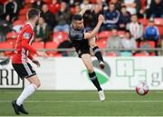 15 June 2018; Michael Duffy of Dundalk has a shot on goal during the SSE Airtricity League Premier Division match between Derry City and Dundalk at the Brandywell Stadium in Derry. Photo by Oliver McVeigh/Sportsfile