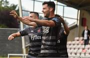 15 June 2018; Patrick Hoban of Dundalk celebrates with team-mates after scoring his side's third goal during the SSE Airtricity League Premier Division match between Derry City and Dundalk at the Brandywell Stadium in Derry. Photo by Oliver McVeigh/Sportsfile