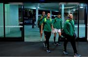 16 June 2018; Ireland players, Conor Murray, Jonathan Sexton and Keith Earls arrive prior to the 2018 Mitsubishi Estate Ireland Series 2nd Test match between Australia and Ireland at AAMI Park, in Melbourne, Australia. Photo by Brendan Moran/Sportsfile
